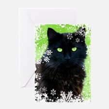 BLACK CAT & SNOWFLAKES Greeting Card