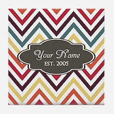 Custom Name Zigzag Stripes Chevron Tile Coaster