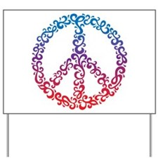 Floral Peace Symbol Yard Sign