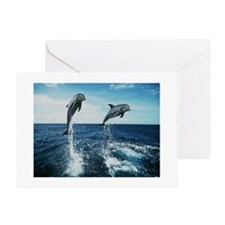 Twin Dolphins Greeting Card