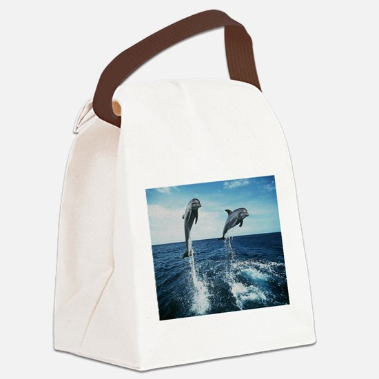 Twin Dolphins Canvas Lunch Bag