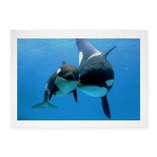 Orca Whale and Calf 5'x7'Area Rug