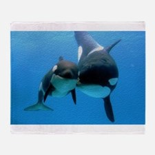 Orca Whale and Calf Throw Blanket