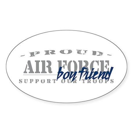 Proud Air Force Boyfriend (Blue) Oval Sticker
