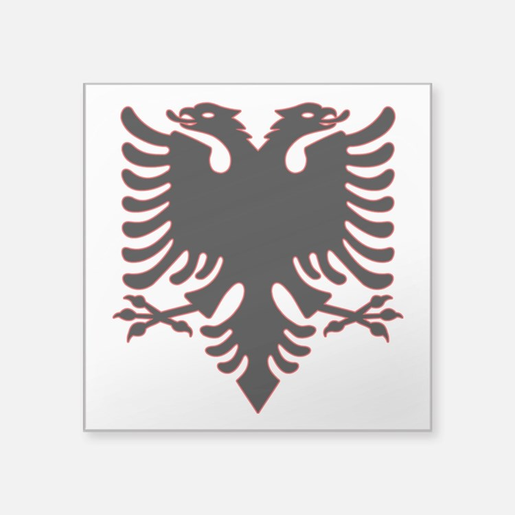 "Albanian Eagle Square Sticker 3"" x 3"""