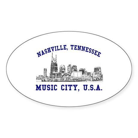 Nashville . . . Music City US Oval Sticker