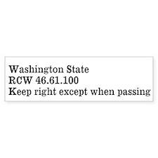 Washington State Keep Right Bumper Bumper Sticker