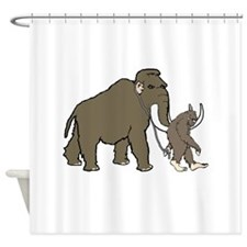 Woolly Mammoth And Bigfoot Shower Curtain