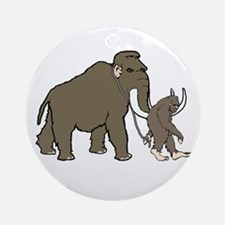 Woolly Mammoth And Bigfoot Ornament (Round)