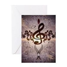 Music, Clef with elegante floral design and soft v