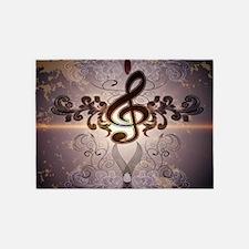 Music, Clef with elegante floral design and soft v
