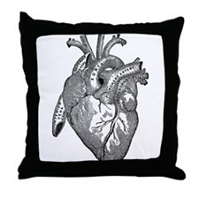 Anatomical Heart - Black Throw Pillow