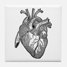 Anatomical Heart - Black Tile Coaster