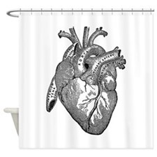 Anatomical Heart - Black Shower Curtain
