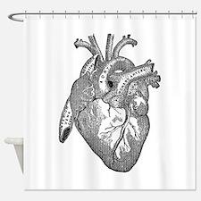 Anatomical Heart - Black Shower Curtain