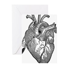 Anatomical Heart - Black Greeting Cards