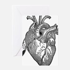 Anatomical Heart - Black Greeting Cards