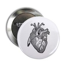 "Anatomical Heart - Black 2.25"" Button (10 pack)"