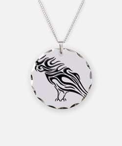 Glossy Black Raven Tattoo Necklace
