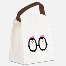 Two Female Penguins Canvas Lunch Bag
