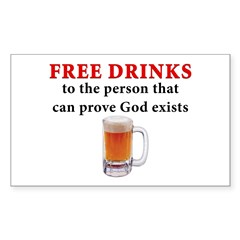 Free Drinks Rectangle Decal