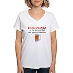 Free Drinks Women's V-Neck T-Shirt