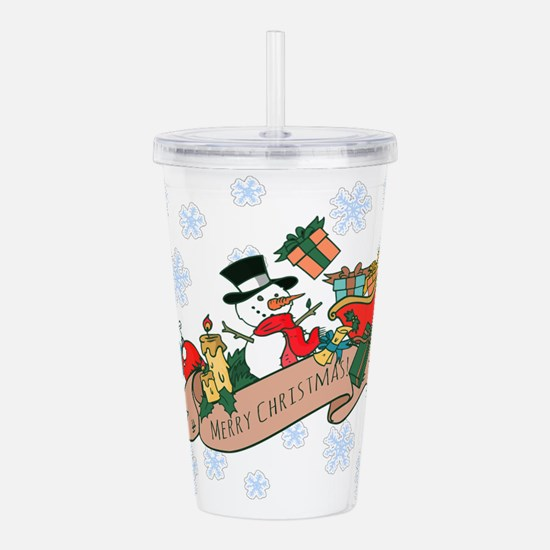 Snowman Merry Christma Acrylic Double-wall Tumbler