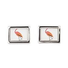 Orange Sherbet Flamingo Rectangular Cufflinks