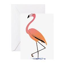 Orange Sherbet Flamingo Greeting Cards