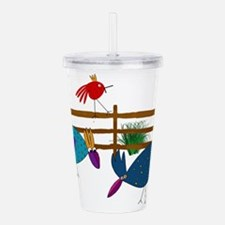 Crazy Chickens Down on Acrylic Double-wall Tumbler