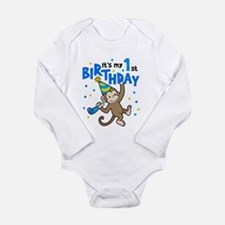 Cute 1st birthday boy Long Sleeve Infant Bodysuit