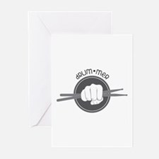 Fist With Drum Stick Greeting Cards