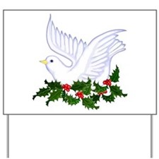 Christmas Dove of Peace with Holly Yard Sign