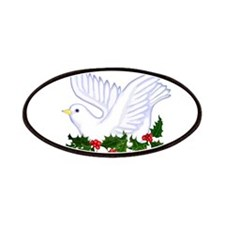 Christmas Dove of Peace with Holly Patches