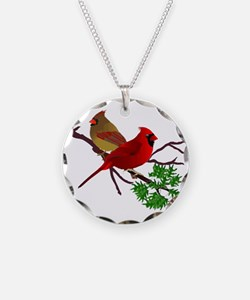 Cardinal Couple on a Branch Necklace