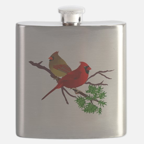 Cardinal Couple on a Branch Flask