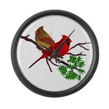Cardinal Couple on a Branch Large Wall Clock