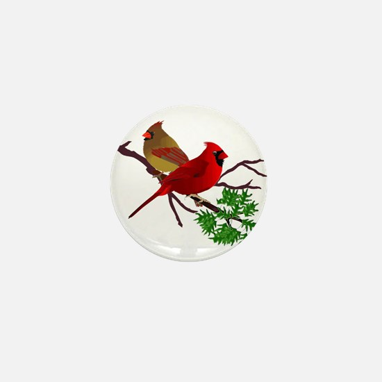 Cardinal Couple on a Branch Mini Button
