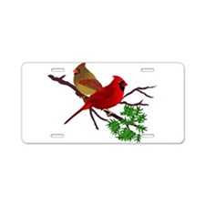 Cardinal Couple on a Branch Aluminum License Plate