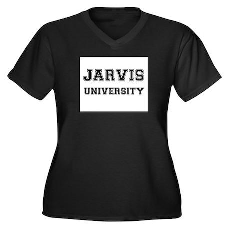 JARVIS UNIVERSITY Women's Plus Size V-Neck Dark T-