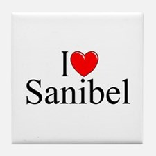 """I Love Sanibel"" Tile Coaster"