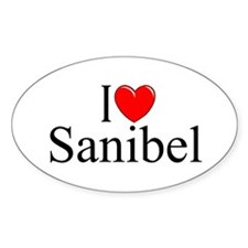"""I Love Sanibel"" Oval Decal"