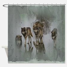 Grunge Wolf Pack Shower Curtain