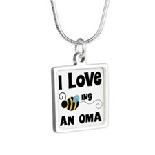 I Love Being An Oma Silver Square Necklace