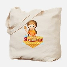 A pretty girl eating at the fastfood rest Tote Bag