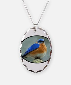 Bluebird in Oval Frame Necklace