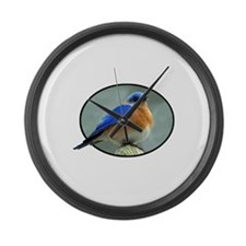 Bluebird in Oval Frame Large Wall Clock