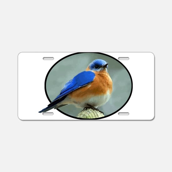 Bluebird in Oval Frame Aluminum License Plate