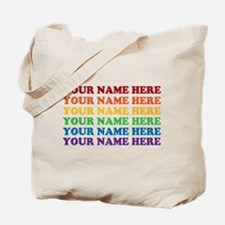 Rainbow Custom Text Tote Bag
