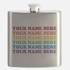 Rainbow Custom Text Flask
